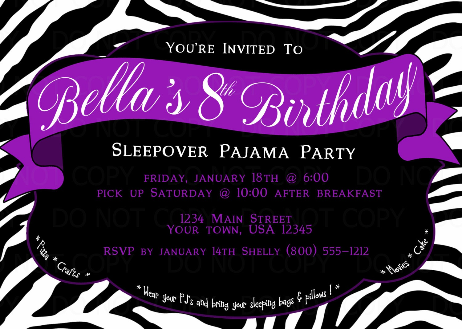 Printable DIY Zebra Print Sleepover Pajama Birthday Party – Free Printable Slumber Party Invitation Templates