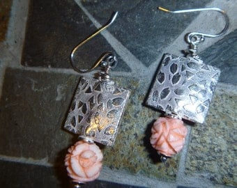 Carved shell flowers and silver plated copper bead earrings with sterling hooks