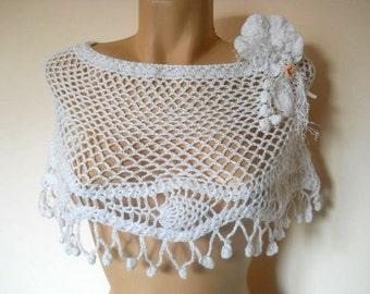 LIQUIDATION Stock SALE 30% OFF / Bridal Cape Capelet Wedding Accessories Crochet Shrug Bolero Lace Cotton Gift Summer Women Handmade Elegant