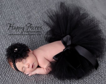 BLACK NEWBORN TUTU with tulle flower headband, size newborn through 2t available, newborn photography prop, birth announcement, 1st birthday