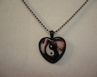 Yin and Yang Heart Pendant Necklace