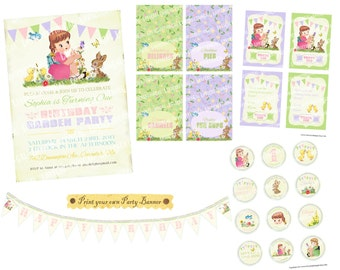 Digital PRINTABLE Vintage Spring Garden Girl Butterfly Bunny Bird Flowers Birthday Tea Party Package Set Banner Invitation Card Tag PP15