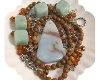 Beads a Plenty, Amazonite,  Jasper, Czech Glass, Pewter, Silver, Pendant Focal Beads Jewelry Necklaces DIY