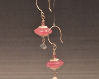 Handmade Sterling silver and Pink Lampwork glass and pink crystal earrings-SRA