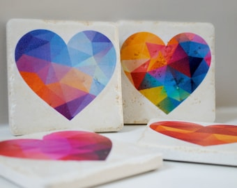 Love coasters Geometric Heart pattern set of 4 Italian Stone Coasters