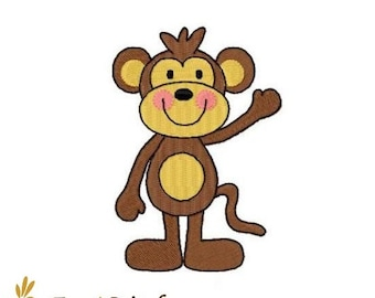 Monkey machine embroidery design