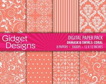 Coral Digital Paper Pack Damasks Patterns Summer Digital Paper DIY Wedding Bridal Shower Engagement