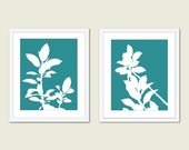 Botanical Prints - Set of Two Prints - Leaves Prints - Modern Botanical Wall Art - Teal Home Decor - Office Wall Art - Aldari Art