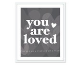 You Are Loved - Digital Art Print - Typography - Charcoal Dark Grey - Heart - Modern Wall Art -Under 20 - AldariArt