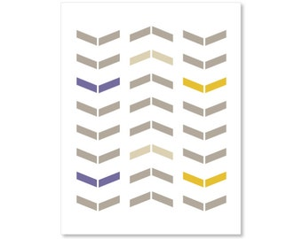 Chevron Art Print - Simple Modern Arrows - Southwest Wall Art - Home Decor - Neutral Plum Tan Mustard Yellow- Tribal -Under 20