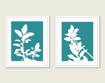 Botanical Prints - Set of Two Prints - Leaves Prints - Modern Botanical Wall Art - Teal Home Decor - Office Wall Art - Aldari Art