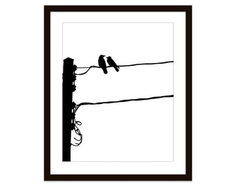 Birds on Power Line Print - Black and White Art - Modern Contemporary Minimalist Birds - Crows Print - Black Birds Wall Art - Urban Birds