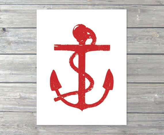Anchor Art Print - Red and White - Nautical Home Decor - Rustic Art