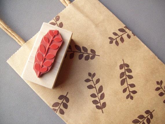 Floral Leaf Rubber Stamp for Patterns, Gift Wrap, Cards, Scrapbooking