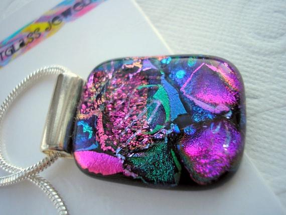Dichroic Glass Jewelry - Dichroic Pendant - Fuschia Delight - Glass Pendant - Dichro Pendant - Purple Necklace - Iridescent Glass Pendant