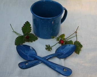 Blue Metal Splatter Enamelware Cup and Pair of Spoons Worn Utensils Speckled