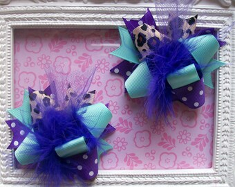 Hair Bows Set of 2---Mini Funky Fun Over the Top Bows--Chic Aqua & Leopard with purple