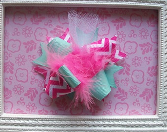Hair Bow, Colorful Hair Ribbon, Custom Baby Hairbow, Ribbon Hair Clip, Baby Hair Bow Clip, Pink and Aqua Chevron Bow