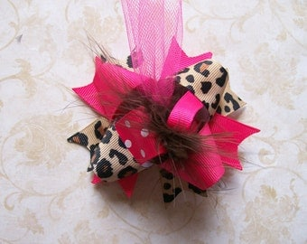 Hair Bow---MINI Funky Fun Over the Top Bow----Hot Pink and Cheetah