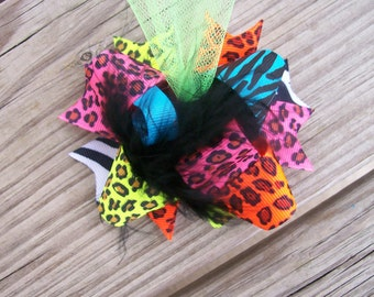 NEON Hair Bow---Mini Funky Fun Over the Top Bow--NEON Animal Prints---Yellow, Orange, Blue, Hot Pink