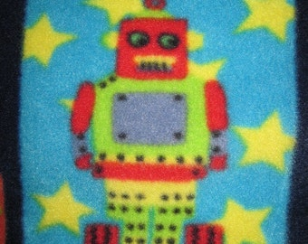 Robots on Black with Black Fleece Handmade Blanket - Ready to Ship Now