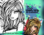 PRINTABLE Digi Stamp Hannah Rainbow Sky Mermaid Coloring Page Fun Fantasy Art Hannah Lynn