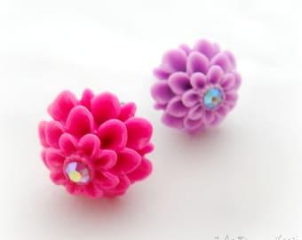 Rhinestone flower iPhone dust plug for iPhone Smartphone pink purple