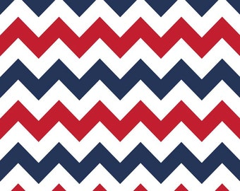 Red White and Blue 4th of July Medium Chevron Cotton for Riley Blake, 1 Yard