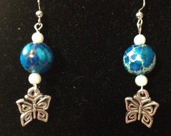 Clouds and Sky Butterfly Earrings