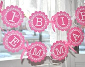 1st Birthday Banner - Polkadots Pink and White - Personalized with Name - Girl's Birthday Party Decorations