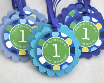 12 Boys 1st Birthday Favor Tags - Blue Polkadots - Personalized - Boys Birthday Party Decorations