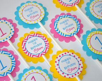 Girls Birthday Cupcake Toppers - 1st Birthday Decorations - Chevron Birthday Decorations with Polkadots - Teal, Pink, Yellow - Set of 12