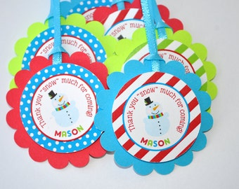 Snowman Favor Tags - Winter Onederland Birthday Party Decorations - Christmas Party Favor Tags - Set of 12