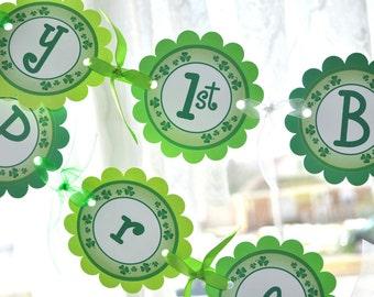 St Patricks Day Banner - St. Patrick's Day Birthday Decorations - Shamrocks, Clovers, Green - St Patricks Party