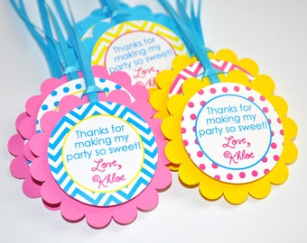 12 Chevron Polkadot Favor Tags - Girls 1st Birthday - Chevron Birthday Decorations with Polkadots - Teal, Pink, Yellow