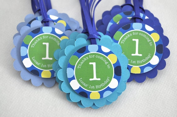 12 boys 1st birthday favor tags blue polkadots personalized
