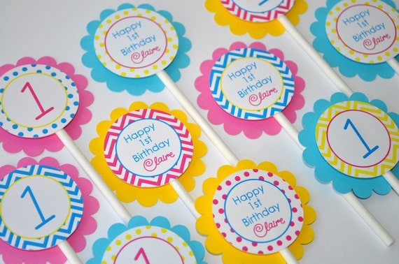 Girls Birthday Cupcake Toppers 1st Birthday Decorations