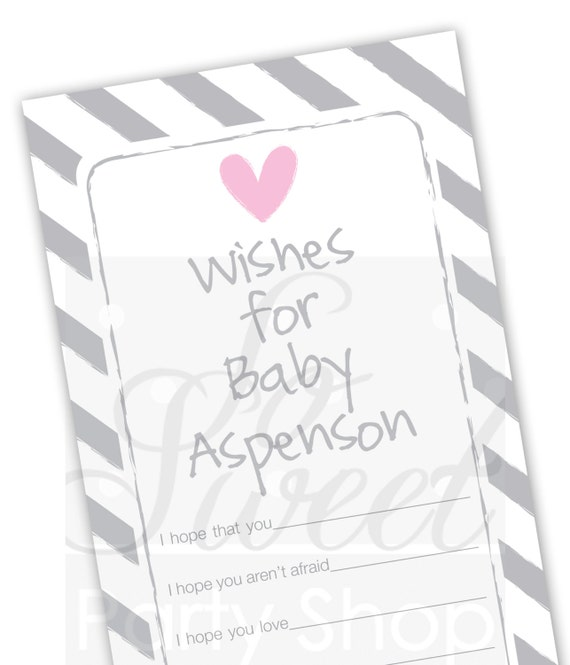Baby Well Wish Cards Girls Baby Shower Pink And Gray Baby