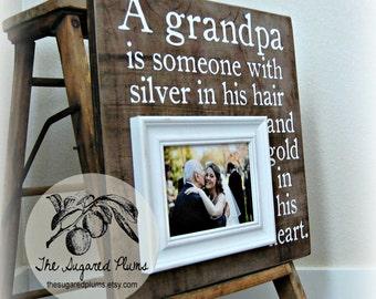 Grandpa Picture Frame, Grandfather, Grandchild, Grandpa, PaPa, Grandparents, Appreciation, Baby Frame, Family 16x16 The Sugared Plums