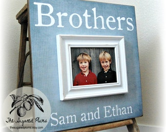 BROTHERS Personalized Picture Frame 16x16 First Birthday Boys Grandparents Sibling Gift