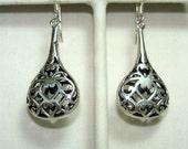 Filigree STERLING Silver Tear Drop BASKET Earrings