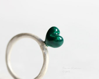 Emerald Heart Ring Organic Love White Sterling Silver T12