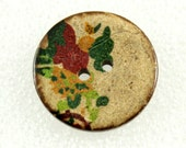 Wholesale - Flower Wooden Buttons - Aesthetic Peony Painting  Wood Buttons, 1 inch. 50 in a set