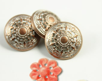 Metal Buttons - Medieval Filigree Metal Buttons , Copper Silver Color , Domed , Openwork , Shank , 0.55 inch , 10 pcs