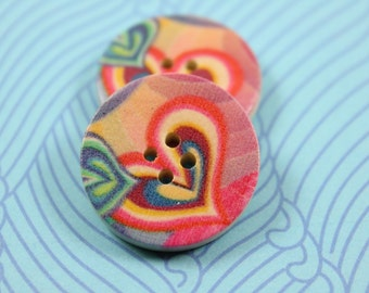 Wooden Buttons - Pink Soft Hearts Picture Wood Buttons 1 inch. 6 in a set