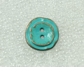Wholesale - Lovely Retro Greenish Blue Metal Buttons, 0.47 inch, 50 pcs