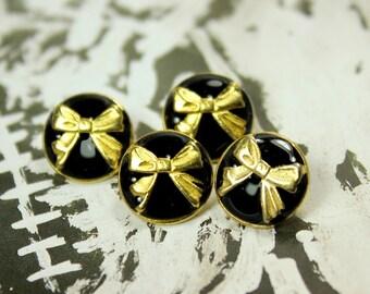 Metal Buttons - Golden Ribbon Bow Metal Buttons , Black Enamel Color , Shank , 0.51 inch , 10 pcs