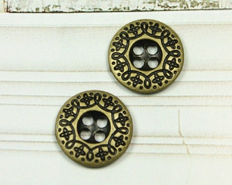 Metal Buttons - Scrollwork Border Metal Buttons , Antique Brass Color , 4 Holes , 0.51 inch , 10 pcs