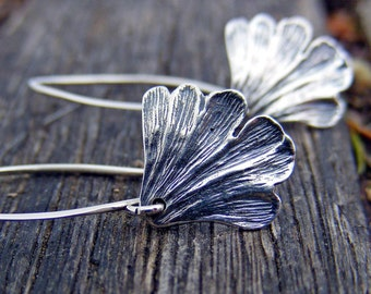 Ginkgo Leaf Earrings, Sterling Silver Earrings, Ginkgo Earrings, Ginkgo Jewelry