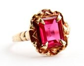 Antique 10k Yellow & Rose Red Gold Ruby Stone Ring - Vintage Art Deco Red Pink Stone Fine Jewelry / Emerald Cut Solitaire